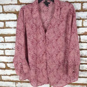 Lane Bryant Mauve Pink Button TOP 3/4 Slv Sz 18-20